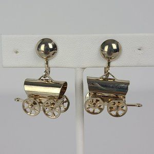 Vintage Horse Carriage Screw Back Earrings